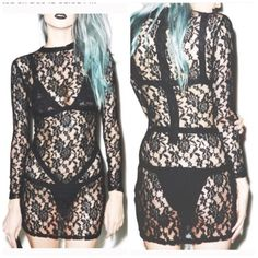 WEEKEND SALE Dolls Kill Lace dress Bought from Dollz Kill website. M/L . Runs small but has nice stretch to it. NIB✅reasonable offers considered using button ✅bundle discounts trades please Nasty Gal Dresses Long Sleeve