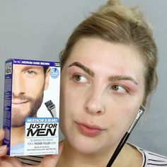 ‼️DIY ALERT‼️   How I tint my eyebrows at home!  1️⃣ Pick up a box of Men's Beard Dye in whatever shade that matches your desired color  2️⃣ Mix up a small portion of the color using equal parts of the tubes (you do NOT need much) and then store the leftovers safely  3️⃣ Apply @vaselinebrand around brows to keep the dye from getting on the surrounding area when applying (I could only find my rosy lips one so that's why it's kind of red ) 4️⃣ Use an angled brow brush ( I used the @morphe...