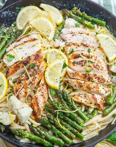 Creamy Lemon Grilled Chicken, Asparagus and Artichoke Pasta Recipe : A bright and fresh grilled chicken and asparagus pasta in a creamy lemon and artichoke sauce! Healthy Pasta Recipes, Healthy Pastas, Cooking Recipes, Chicken Recipes, Healthy Italian Recipes, Italian Pasta Recipes, Noodle Recipes, Healthy Dinners, Shrimp Recipes
