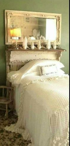 Fireplace mantel headboard.                                                                                                                                                      More