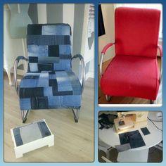 oude stoel opnieuw bekleed met spijkerbroeken/jeans