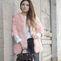 Peach/ Pink Faux Fur Coat Extra fluffy and super soft photographs lighter color super cute  ... A little more on the peach/ pink side in person. Worn once for photos ... fur is fluffy, clumpy sorta the style of it like new. Sheinside Jackets & Coats Puffers