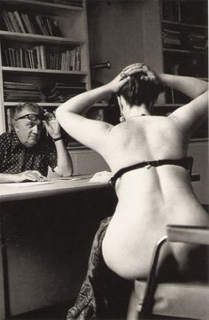 "Federico Fellini auditioning in Paris, 1975, for ""Casanova"" (photograph Michelangelo Durazzo)"