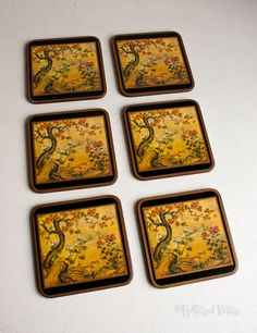 Six 6 Vintage Retro 1980s Boxed Pimpernel 'Chinese Screen' Drinks Coasters by UpStagedVintage on Etsy
