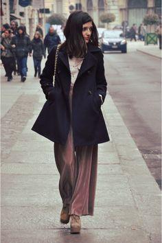 Navy wool sessun coat