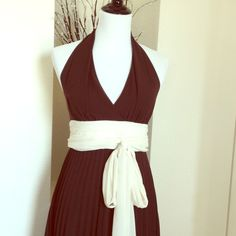 """NWT:  Knife pleat Chiffon Dress Brown sheer chiffon halter with A-line knife pleat skirt.  Flowing cream chiffon folded cumber bum waist band with large sash.  37"""" long from underarms to hem, 13 1/2 waist.  100% polyester sheer chiffon shell. 100% polyester lining. Zero Dresses"""