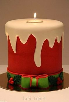 christmas candle cake - For all your cake decorating supplies, please visit… Christmas Cake Designs, Christmas Cake Decorations, Christmas Sweets, Holiday Cakes, Noel Christmas, Christmas Candles, Christmas Goodies, Christmas Baking, Xmas Cakes