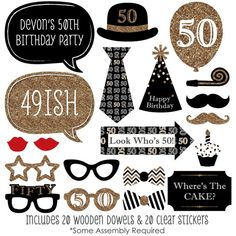 Big Dot of Happiness Adult Birthday - Gold - Birthday Party Photo Booth Props Kit - 20 Count 50th Birthday Party Ideas For Men, Gold Birthday Party, 70th Birthday Parties, Adult Birthday Party, Gold Party, Fabulous Birthday, Birthday Balloons, Photos Booth, Photo Booth Props