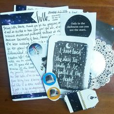 """A space themed letter from Michelle! I never received something that awesome before!  Look at the painted Galileo quote! She even gave me some space…"""