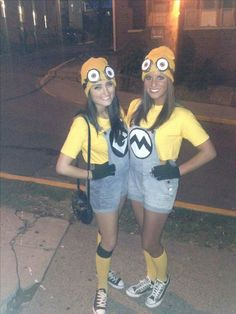 Our homemade minion costumes I have a feeling minions are going to be the hot halloween costume this year. Homemade Minion Costumes, Cute Group Halloween Costumes, Hallowen Costume, Halloween Outfits, Rock Costume, Duo Costumes, Costume Ideas, Couple Costumes, Group Costumes