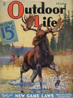 Outdoor Life 1931 Gaucho, Outdoor Life Magazine, Hunting Art, Moose Hunting, Magazine Art, Magazine Covers, Hunting Magazines, Moose Pictures, Outdoor Paint