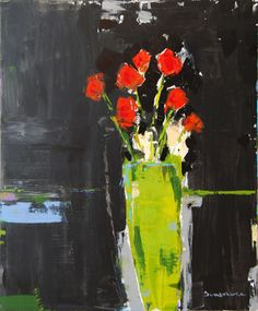 Stephen Dinsmore - Arrangement with Green Vase