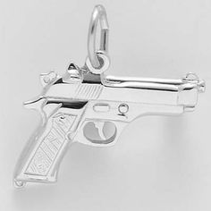 Pistol Charm $28  http://www.charmnjewelry.com/category/sterling_silver-Hobby_and_Profession_Charms.htm #SilverCharm