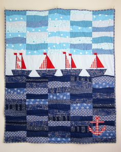 Quilt with Patchwork Sailboats , Children Blanket, Toddler Quilt, Nautical Quilt, Handmade Quilt