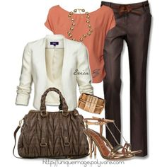 Work outfit love coral with browns and navy