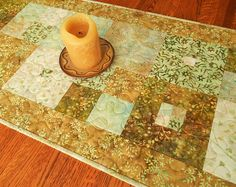 Quilted Batik Table Runner with Flowers and Leaves in Shades of Aqua Green and Gold, Dining Table Decor, Dresser Runner, Coffee Table Runner