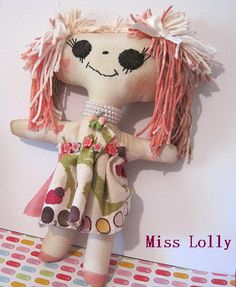 Miss Lolly cloth doll by janeylaughs on Etsy, $35.00