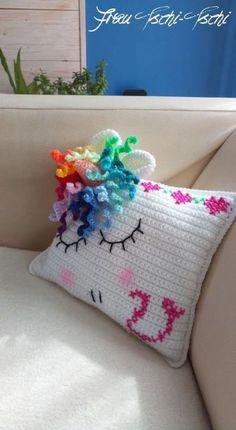 Unicorn pillow – free crochet pattern - Knitting and Crochet Guide Crochet Unicorn Blanket, Crochet Unicorn Pattern, Crochet Pillow Patterns Free, Unicorn Pillow, Baby Knitting Patterns, Free Crochet, Unique Crochet, Free Pattern, Confection Au Crochet