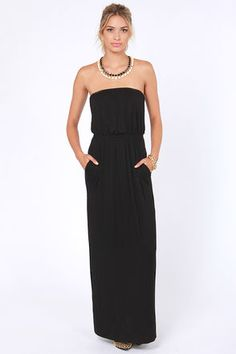Black Maxi Dress Strapless