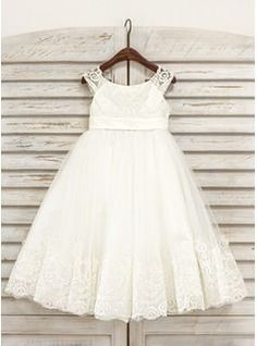 81513c4fbd6 A-Line Princess Tea-length Flower Girl Dress - Tulle Sleeveless Scoop Neck  With Lace - Flower Girl Dresses - JJsHouse