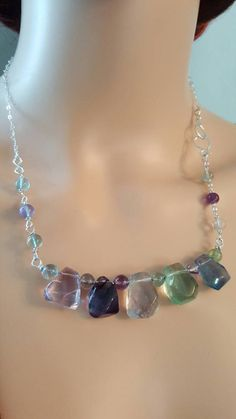 Rainbow Fluorite Necklace Sterling Silver Bar by LGBStyles on Etsy