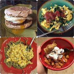 """5/11/15:  A toasted multigrain English muffin w/ a fried egg & turkey sausage, scrambled eggs/egg whites w/ spinach & mango salsa, cheesy cauliflower """"mac"""" w/ edamame/mung bean pasta & spinach pasta, an apple pan-fried in coconut oil w/ cinnamon & stevia and topped w/ cookies 'n cream ice cream & whipped peanut butter."""