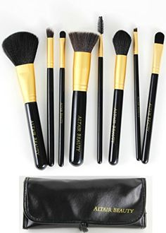 Makeup Brush Set. 8pcs Black High Quality Cosmetic Brushes Kit and Makeup Bag. Professional Kit Featuring Flat Top Kabuki Foundation Brush, Powder Brush, Eyeshadow Brushes, Concealer and More. All Skin Types By Altair Beauty Altair Beauty http://www.amazon.com/dp/B00RTITHZ0/ref=cm_sw_r_pi_dp_1S68ub0CNG51V