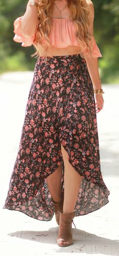 Boho chic outfit styled with blush ruffle crop top, wrap floral maxi skirt, and peep toe booties