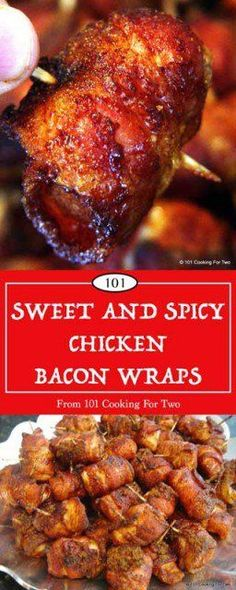 """Sweet and Spicy Chicken Bacon Wraps A great finger food for that """"bring a dish"""" party. What could go wrong with bacon, sugar, and spices? via 101 Cooking for Two Fingerfood Party, Appetizers For Party, Appetizer Recipes, Dinner Recipes, Bacon Appetizers, Bacon Wrapped Chicken, Chicken Bacon, Chicken Wrapped In Bacon Recipe With Brown Sugar, Chicken Chili"""
