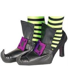 Witch Shoe Covers Accessory With Purple Buckles - PartyBell.com Witch Costume Adult, Halloween Costume Shoes, Wizard Costume, Adult Costumes, Witch Shoes, Witch Dress, Ugly Dolls, Baby Costumes, Costume Accessories
