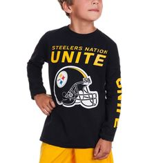 Picture of Steelers Nation Unite (SNU) Boys Long Sleeve Black T-Shirt  Steelers f9e4e95f7