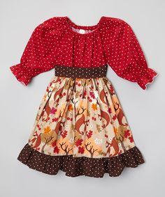Look at this #zulilyfind! BestDressEver Red & Brown Autumn Fox Peasant Dress - Toddler by BestDressEver #zulilyfinds