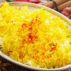 This recipe is simple in its explanation of how to make saffron rice, with its fluffy delicate flavor. How To Make Saffron Rice Recipe from Grandmothers Kitchen. Saffron Yellow Rice Recipe, Green Rice Recipe, Yellow Rice Recipes, Saffron Rice, Easy Rice Recipes, Bean Recipes, Curry Fried Rice, Persian Rice, Saffron Recipes
