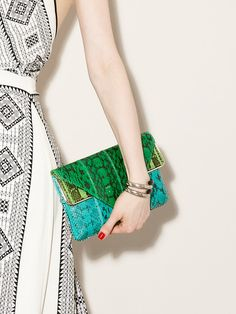 Carla Watersnake Triangle Clutch by Brian Atwood on Gilt