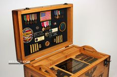 The Custom US Coast Guard Retirement gift is a Keepsake box can include photos, custom artwork on top, inside lid, tray. Personalized US Coast Guard gift. Military Shadow Box, Military Pins, Military Army, Military Retirement Parties, Retirement Gifts, Retirement Ideas, Army Party Decorations, Woodworking Workshop, Woodworking Classes