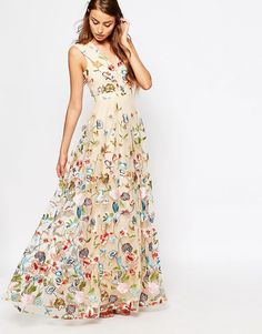 Image 4 ofTrue Decadence Tall Allover Embroidered Floral Maxi Dress