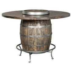 The Sunny Designs Metroflex Round Wine Barrel Pub Table is an exceptional addition to your new rustic dining room or living room. This pub table features. Round Pub Table, Pub Table Sets, Dining Table, Dining Rooms, Kitchen Dining, Pub Tables, Patio Table, Whiskey Barrels, Houses