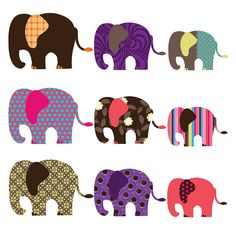 patterned elephant wall stickers by spin collective | notonthehighstreet.com