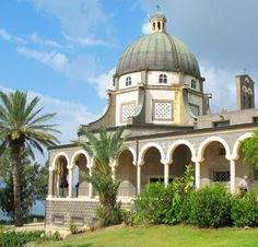 Mount of Beatitudes (scene of Jesus' great Sermon on the Mount), Galilee, Israel.  I stayed at the guest house here for 6 days.  Breathtaking view of the Sea of Galilee♥