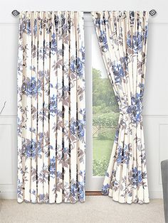 Marvelous Bloomingdale Blue Jay Curtains From Curtains 2go And Blue Floral Curtains