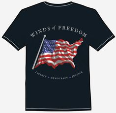 """WINDS OF FREEDOM Express your patriotism with this American flag themed t-shirt. The flag momentarily and magically morphs into the shape of the the USA as it waves in the """"WINDS of FREEDOM. American Flag, Freedom, Tee Shirts, Waves, Shape, Eye, Mens Tops, Fashion, Liberty"""