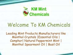 The Natural Menthol Crystals are used in various products which are used in the skin care, health care, dental care , aromatherapy and much more. They have various healing as well as antimicrobial properties which has numerous benefits to the skin, mind, and body. Contact KM Chemicals – The well known Natural Menthol Crystals Manufacturers – for an exclusive range of mint products.