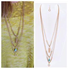 ⛱ ☀️ Turquoise layered necklace set Long layered necklace set lt54002 Jewelry Necklaces