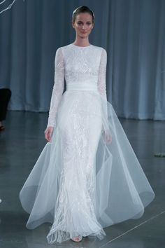 Monique L'Hulier – Bridal Fall 2013    TAGS:Embroidered, Floor-length, Long sleeves, White, Ivory, Silver, Monique Lhuillier, Silk, Tulle, Elegant, Modern