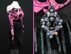 Pink and Black Flowered Mesh Top Latin with Black Velvet Skirt with Black Beaded Fringe Detail