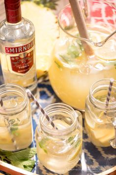 Add a kick to a classic with the Pineapple Lemonade Vodka Punch! 15 oz Smirnoff® No. 21 Vodka, 6 oz lemonade, 3.4 cup water, 12 oz pineapple juice, 2 cups ice, 1.25 cups  ginger ale and lemon slices. Combine thawed lemonade, water and vodka,  addthe  pineapple juice and ice. Stir in ginger ale and add lemon slices. Enjoy! (10 servings) #Smirnoff #Vodka #Punch #Lemonade #Pineapple #GingerAle #Drink #Recipe