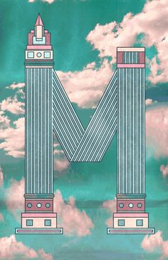 Challenge Day 1 M is for Miami. Alright. Well heres the first day. The only thing thats been getting me through this last year is the idea of living near a beach or ocean, spending the day in a swimsuit. What better place to do that than Miami, right! So heres a giant M in the clouds.