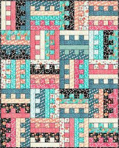 Lets Quilt Something: All Zipped Up - Free Quilt Pattern - Jelly Roll - Could change to piano keyboard pattern. Jelly Roll Quilt Patterns, Beginner Quilt Patterns, Patchwork Patterns, Quilting For Beginners, Quilt Patterns Free, Quilt Tutorials, Beginner Quilting, Quilting Tips, Free Pattern