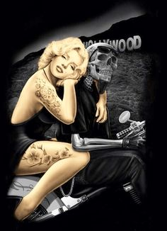 DGA Day of The Dead Marilyn Monroe Ride or Die Biker Stretched Wood Frame Canvas Wall Art Inches - Hollywood Homegirl Marilyn Monroe Tattoo, Marilyn Monroe Kunst, Marilyn Monroe Artwork, Marilyn Monroe Drawing, Arte Cholo, Aztecas Art, Catrina Tattoo, Fantasy Anime, Lowrider Art