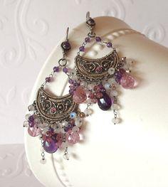Amethyst Earrings Wire Wrapped Sterling Silver by DacesJewelry, $165.00